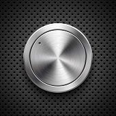 Audio Volume Knob, Technology Music Button Template, With Metal Circular Brushed Texture, Chrome, Si poster