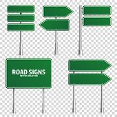 Road Green Traffic Sign. Blank Board With Place For Text.mockup. Isolated On White Information Sign. poster