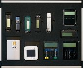 Electronic Security Devices Case. Security Key Flash Stick And Other Banking Security System Set poster
