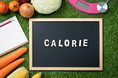 Counting Calories, Top View And Empty Blackboard On The Grass Background. poster