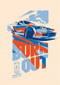Постер, плакат: Burnout Car Japanese Drift Sport Car Street Racing Racing Team Turbocharger Tuning Vector Illu