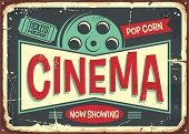 Cinema Retro Decorative Sign Layout. Vintage Poster Design For Cinema. Movies And Entertainment Them poster