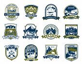 Camping And Outdoor Adventure Shield Badge Set. Mountain Camp And Forest Campground Park Heraldic Sy poster