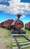 picture of boxcar  - Vintage train with boxcars on a track. ** Note: Slight graininess, best at smaller sizes - JPG