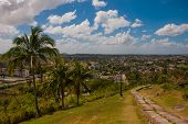 Santa Clara, Cuba: The View From The Hill Of The City. Steps Going Down. Monument Of The Lomo Del Ca poster