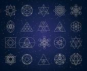 Sacred Geometry Outline Shapes Vector Symbol Set poster