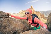Woman Hiker Reached Mountain Top. Inspiration And Motivation For Weekend Adventures. Female Runner O poster