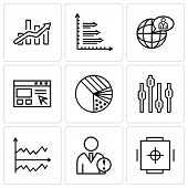 Set Of 9 Simple Editable Icons Such As Safe Box, Data Analytics, Chart, Box Plot Chart, Pie Graphic  poster