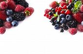 Mix Berries And Fruits At Border Of Image With Copy Space For Text. Black-blue And Red Food. Ripe Bl poster