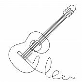 Continuous Line Drawing Of Acoustic Guitar Vector. Musical Instrument Single Line For Decoration, De poster