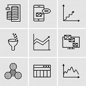 Set Of 9 Simple Editable Icons Such As Data, Table For Data, Pie Graphic Comparison, Monitor Analyti poster