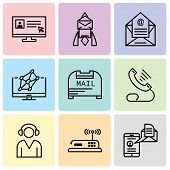 Set Of 9 Simple Editable Icons Such As Mail And Spartphone, Router, Support, Telephone, Mail Box, Ho poster