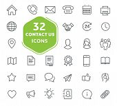 Contact Us Icons. Thin Lines Icons Set For User Interfaces poster