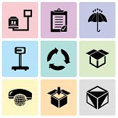 Set Of 9 Simple Editable Icons Such As Package Cube Box For Delivery, Delivery Packaging Box, Intern poster