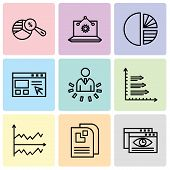 Set Of 9 Simple Editable Icons Such As Data Viewer, Data Page, Chart, Bars, User Data Analytics, Dat poster