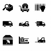 Set Of 9 Simple Editable Icons Such As Logistics Transport, Package On Rolling Transport, Delivery P poster