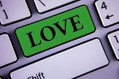 Word Writing Text Love. Business Concept For Intense Feeling Deep Affection Romantic Sexual Attachme poster
