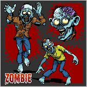 Zombie Comic Set - Cartoon Zombie. Set Of Color Drawings Of Zombies On Dark Background. poster