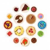 Dessert Top View Detailed Icons Set. Cartoon Illustration Of 16 Dessert Top View Detailed Vector Ico poster