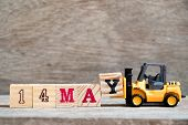 Toy Forklift Hold Block Y To Complete Word 14 May On Wood Background (concept For Calendar Date For  poster