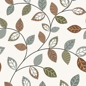 Autumn Leaf Seamless Pattern. Different Leaves On Background. Flower Drawing Leaves For Textile, Wal poster