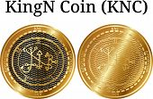 Set Of Physical Golden Coin Kingn Coin (knc), Digital Cryptocurrency. Kingn Coin (knc) Icon Set. Vec poster