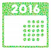 2016 Month Calendar Collage Icon Of Dots In Various Sizes And Ecological Green Color Tones. Vector R poster