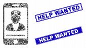 Mosaic Mobile Doctor Pictogram And Rectangular Help Wanted Seal Stamps. Flat Vector Mobile Doctor Mo poster