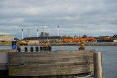 Copenhagen, Denmark: Beautiful Panoramic View From The Waterfront To The Buildings And The River. Co poster