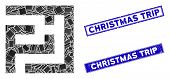 Mosaic Labyrinth Icon And Rectangle Christmas Trip Seal Stamps. Flat Vector Labyrinth Mosaic Pictogr poster