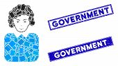 Mosaic Bureaucrat Lady Icon And Rectangle Government Seal Stamps. Flat Vector Bureaucrat Lady Mosaic poster