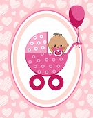 Newborn Baby, Girl, Greeting Card, Africa, Pink Hearts, Vector. A Little Girl In A Pink Stroller. A  poster