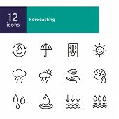 Forecasting Line Icon Set. Set Of Line Icons On White Background. Environment Concept. Rain, Cloud,  poster