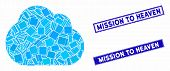 Mosaic Cloud Icon And Rectangle Mission To Heaven Seal Stamps. Flat Vector Cloud Mosaic Icon Of Scat poster