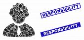 Mosaic Judge Profession Icon And Rectangular Responsibility Stamps. Flat Vector Judge Profession Mos poster