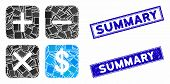 Mosaic Financial Calculator Icon And Rectangle Summary Rubber Prints. Flat Vector Financial Calculat poster