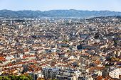 Beautiful Top View Of Marseille From The Notre Dame De La Garde On A Bright Sunny Day. Great Landsca poster