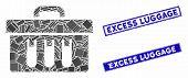 Mosaic Analysis Case Icon And Rectangular Excess Luggage Seals. Flat Vector Analysis Case Mosaic Ico poster