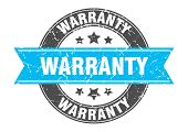 Warranty Round Stamp With Turquoise Ribbon. Warranty poster