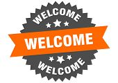 Welcome Sign. Welcome Orange-black Circular Band Label poster