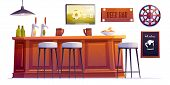 Beer Bar Stuff, Pub Desk With Bottles And Cups, High Stools, Drinks, Menu Board, Darts And Televisio poster