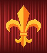 Fleur De Lys Symbol On Red Curtain, Golden King Insignia. Flower Royal Lily, Antique Or Old Scroll L poster