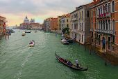 Picturesque Landscape Of Grand Canal With Turquoise Water. Medieval Colorful Buildings And Palazzo A poster