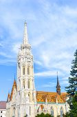 Spire Of The Matthias Church In Budapest, Hungary On A Vertical Photo. Roman Catholic Church Built I poster