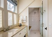 Bathroom interior with beautiful tile wheelchair accessible shower. poster