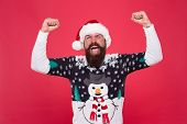 Having Fun. Happiness And Joy. Celebration Time. Emotional Man Santa Hat Celebrate New Year. Traditi poster