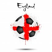 Abstract Soccer Ball Painted In The Colors Of The England Flag. Flag Of England In The Form Of Socce poster