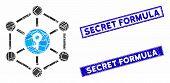 Mosaic Public Key Pictogram And Rectangular Secret Formula Seal Stamps. Flat Vector Public Key Mosai poster