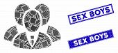 Mosaic Manager Group Icon And Rectangular Sex Boys Rubber Prints. Flat Vector Manager Group Mosaic I poster