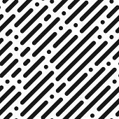Black And White Diagonal Stripe Seamless Pattern. Black Dashed Stripes Vector Background. Abstract 8 poster